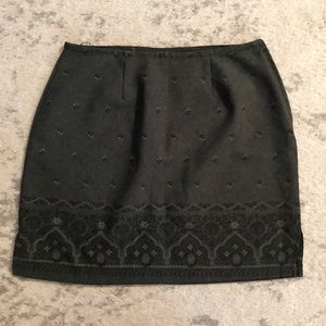 Charcoal gray & black floral lace pattern skirt
